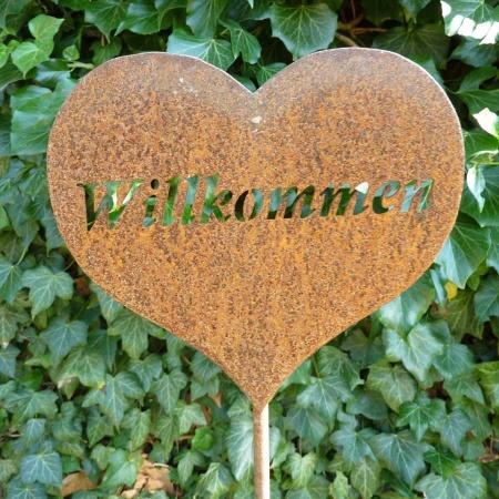 Herz lich Willkommen Metalldeko Schild 50 cm