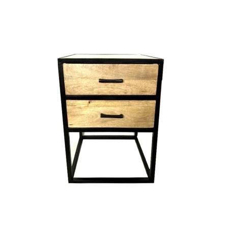 Holz Nachttisch industrial 2 Schubladen Metallgestell