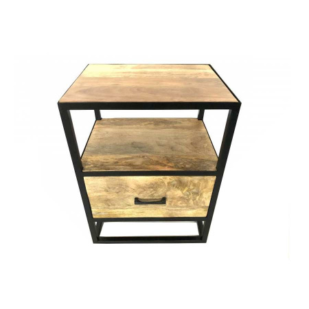 Holz Nachtkommode industrial Schublade 2 Ablagen