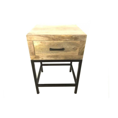Mango Holz industrial Nachtkommode Schublade Metallfuss