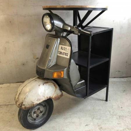 Scooter Bartisch Vintage Weintisch Motorroller Weintisch rund