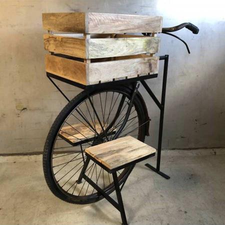 Fahrrad Blumenständer Holzkiste 2 Ablagen mit Lenker