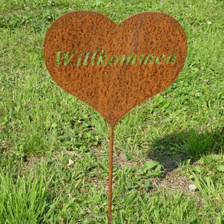 Herz lich Willkommen Metalldeko Schild 100 cm