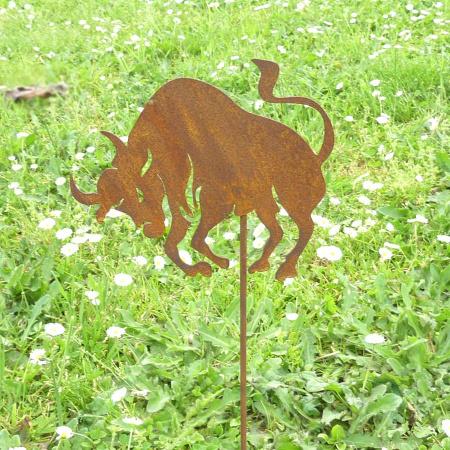 Metall Sternzeichen Stier Bodenstecker Gartendeko Edelrost