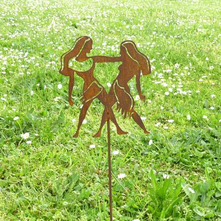 Sternzeichen Symbol Zwilling Metall Deko Gartenstecker