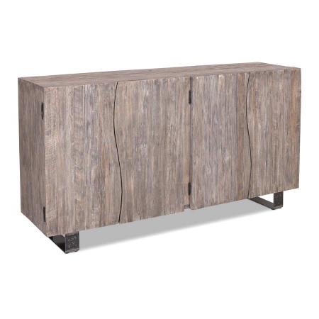 Sideboard recyceltes Holz Finish Vintage grau 170 cm