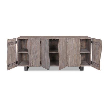 Sideboard recyceltes Holz Finish Vintage grau 200 cm