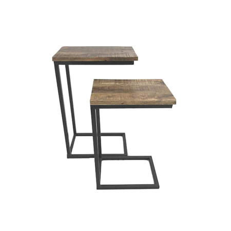 Industrial Sofa Beistelltisch 2er Set Metall Holz