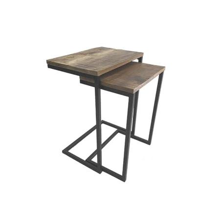 Sofatisch 2er Set Holz Metallgestell industrial