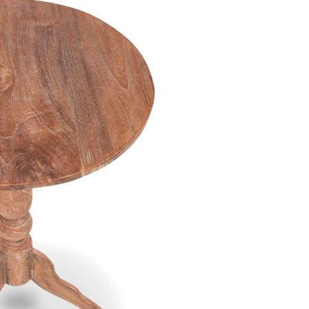 Teak Holz Weintisch rund filigran massiv 50 cm