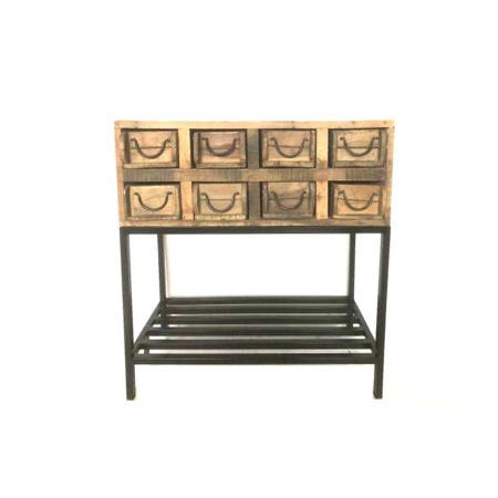 Altholz Nachtkommode Vintage rustikal 8 Schubladen 78 cm