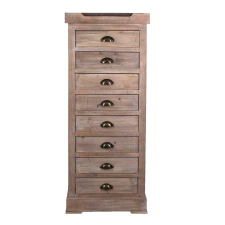 Hochkommode Holz braun 8 Schubladen 120 cm