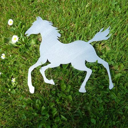 Edelstahl Pferd Tisch- Wanddeko handgeschliffen