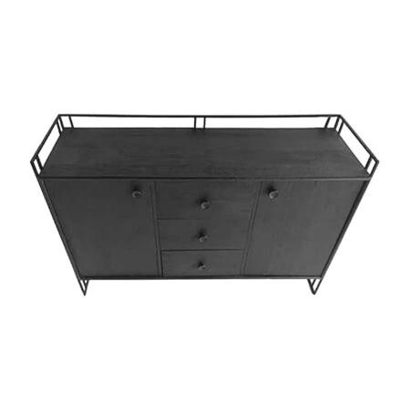 Industrial Sideboard Metall Gestell Holz schwarz 133 cm