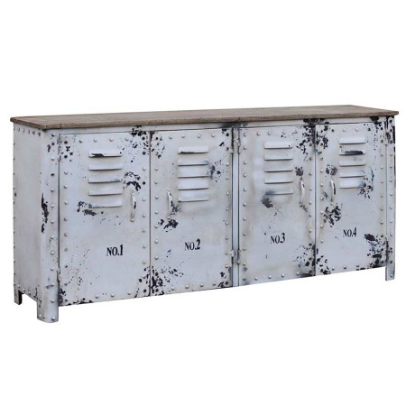 Metall Sideboard Holzplatte Shabby Chic weiss 152 cm