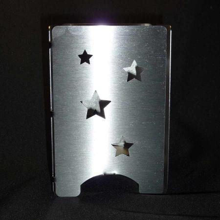 Windlicht Edelstahl mit Sternen