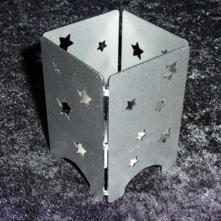 Windlicht Stahl mit Sternen