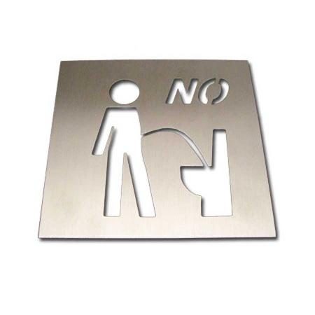 Witziges Edelstahl WC Schild NO
