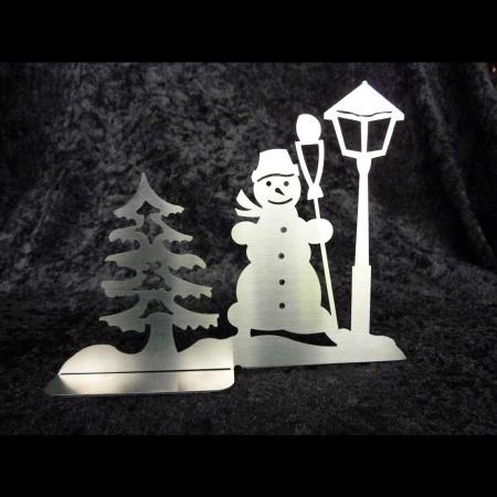 Baum Schneemann Laterne Metalldeko Weihnachten