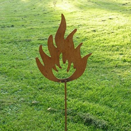 Metallobjekt Feuer mit Gartenstecker 100 cm