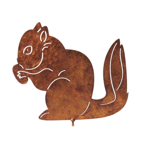 Gartenfigur Stahl Eichhörnchen mit Nuss