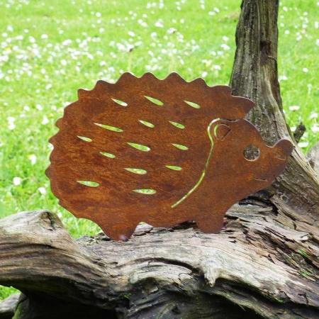 Igel mit Rostpatina aus Metall Deko Garten