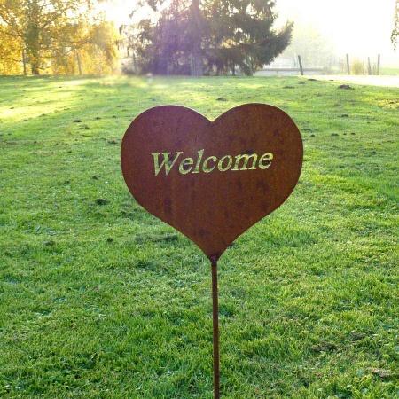 Dekoherz Metall Welcome mit 50 cm Gartenstecker