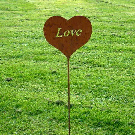 Metallherz Love Gartenstecker 50 cm
