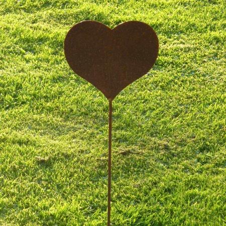 Stahlherz Gartendeko mit 50 cm Bodenstecker
