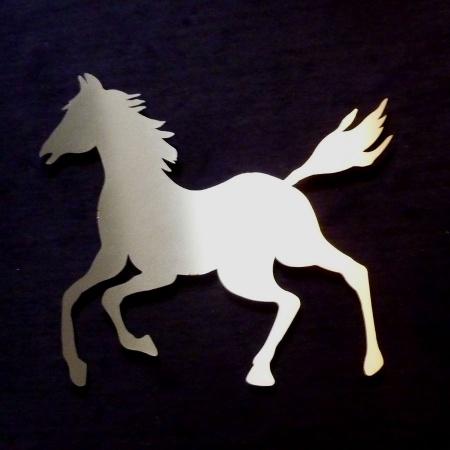 Edelstahl Pferd mit Wandhalterung