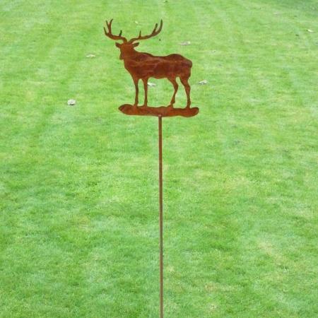 Hirsch Metall Gartendeko mit Bodenstecker 100 cm