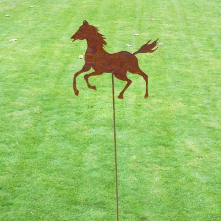 Pferd Metall Garten mit Bodenstecker 100 cm