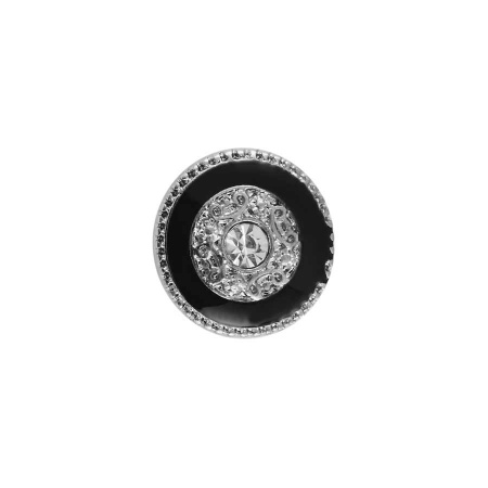 Druckknopf Small Size schwarz silber mit Zirkonia