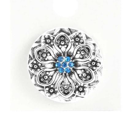 Druckknopf Aufsatz Top Blume mit blauen Zirkonia