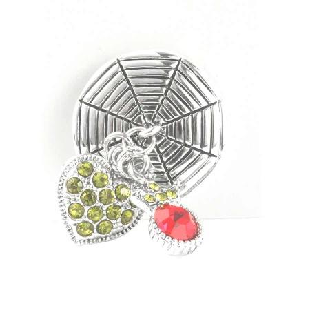 Druckknopf Aufsatz Top Herz mit Zirkonia grün