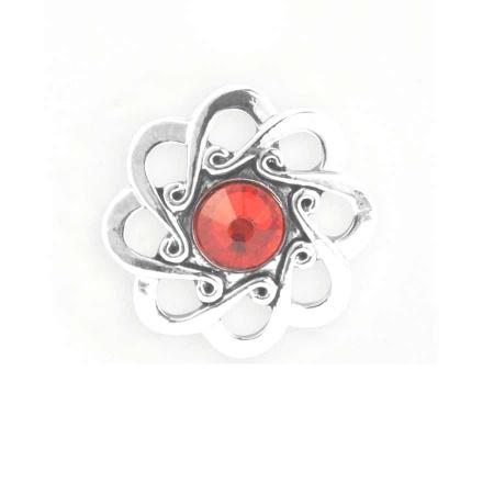 Druckknopf Aufsatz Top Blume Stein rot