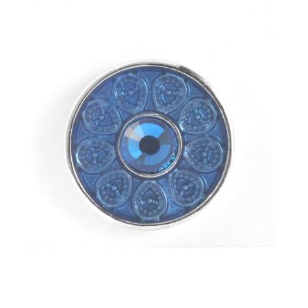 Druckknopf Aufsatz Top Blumenmuster Stein blau