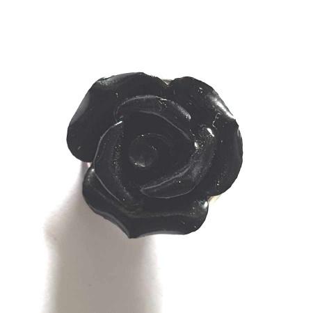 Druckknopf Aufsatz Top Blume schwarz