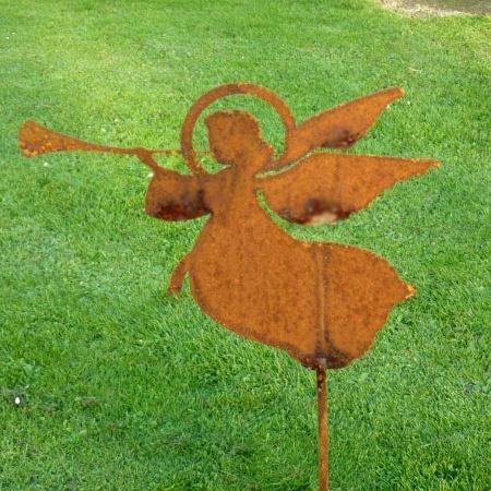 Edelrost Engel mit Trompete 50 cm Gartenstecker
