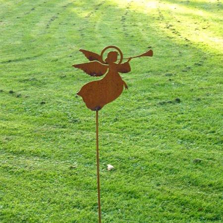 Edelrost Engel mit Trompete 100 cm Gartenstecker