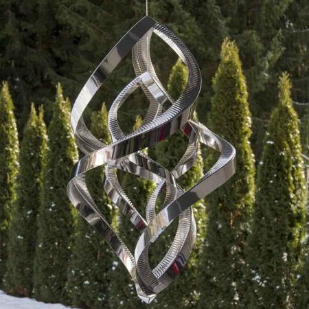 3D Edelstahl Windspiel MegaMonos 2 Elemente