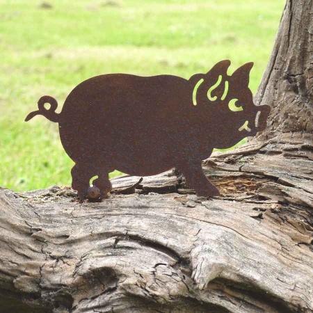 Glücks Schwein Rost Metall Deko Sau gut