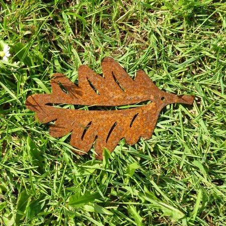 Eichenlaub Metall Blatt Edelrost 16,5 cm