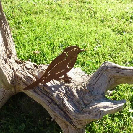 Spatz Metall Gartendeko Vogel rostiger Haussperling