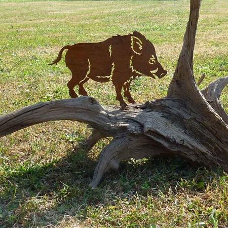 Metall Wildschwein Gartenstecker Deko Keiler