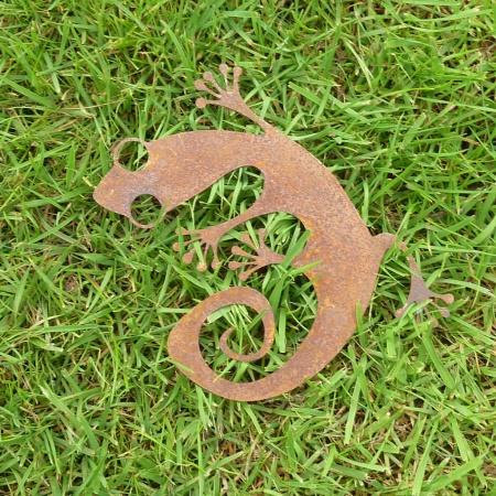 Salamander Metall Deko Gecko Rost