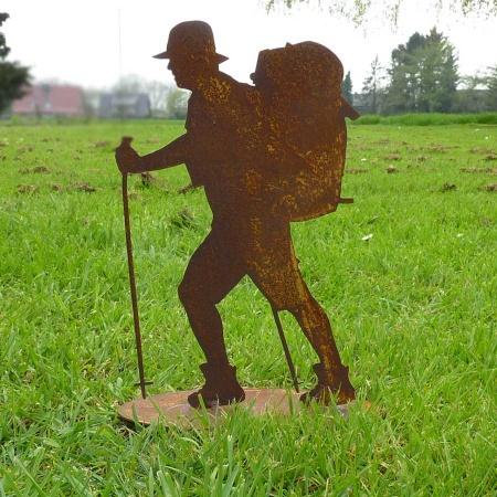 Edelrost Bergsteiger Metall Wanderer Deko Figur