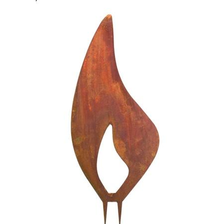 Rostige Kerzenflamme Metall 400 mm gross