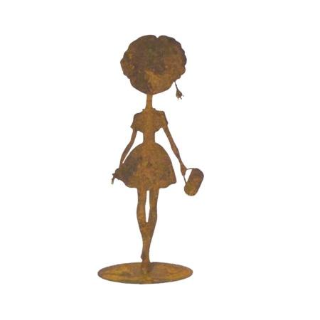 Dekofigur Frau mit Handtasche Metall
