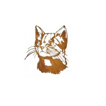 Katzenkopf Metall Edelrost Wandbild Katze